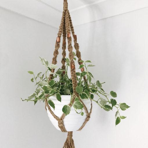 Macrame Plant Hanger - Jute & Copper Plant Hanger - Wiley Concepts